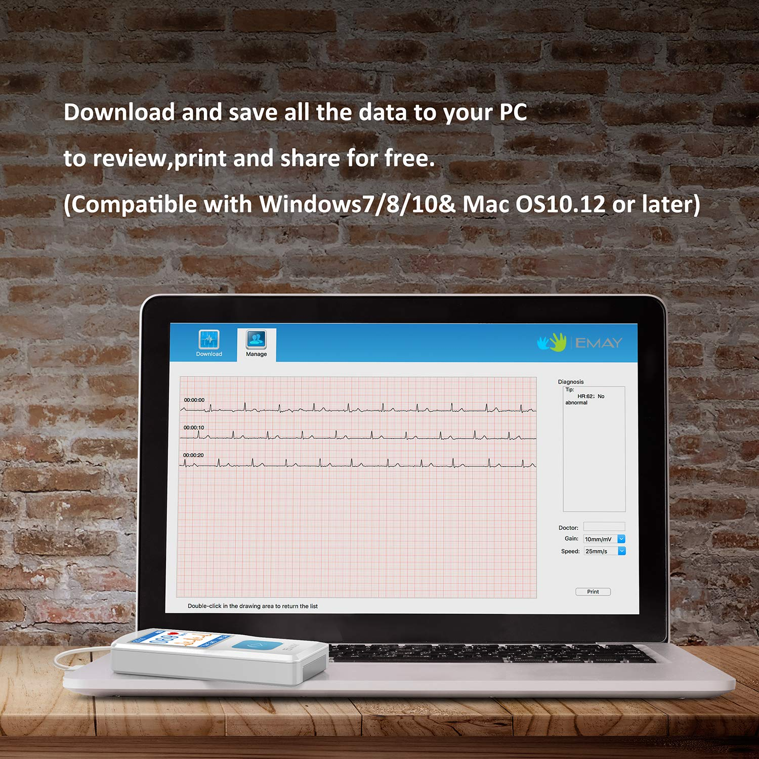 EMAY portable ECG EKG monitors